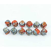 Wcx26861 E12 Orange And Steel With Gold Pips 12mm D6 Dice Gemini Pack Of 12 Dice