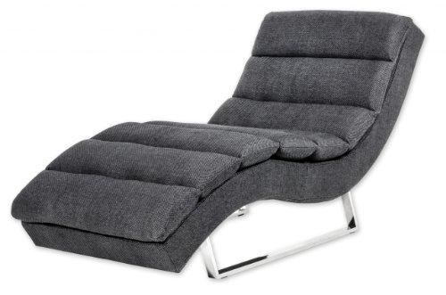 Miraseo MYHHRS63S Niko Chaiselongues - Relaxliege, hochwertiger Loungestuhl Fernsehsessel in Textil (Stoff), Farbe Schwarz, edler design comfort TV Liegesessel mit den Maßen: 168 x 73 x 86 cm