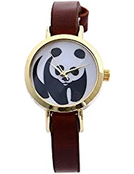 Zillion Small Panda Print Dial Brown Strap Analog Watch For Women, Girls