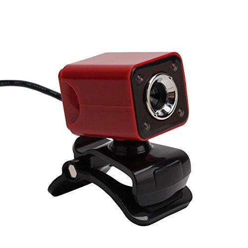HD USB 5MP LED Webcam Cameras Web Cam With Mic For PC Desktop Skype MSN Red
