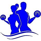Eight2Ten PVC Fitness Couple Wall Sticker (60 Cm X 45 Cm, Blue)