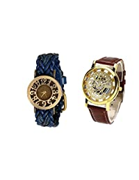 COSMIC COUPLE WATCH- BLUE DESIGNER ANALOG WATCH FOR WOMEN AND BROWN SKELETON WATCH FOR MEN- PACK OF 2