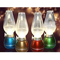 3Keys Flameless Retro LED Lamp. Blow Control & Dimmable Light. 3 LED Lights & USB Rechargeable (Color May Vary)