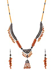 Anmol Jewellers Sterling Silver Coral Necklace Set(2 Earrings And 1 Necklace) For Women