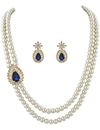 Classique Designer Jewellery White Two Layers Cultured Pearl Necklace With Blue Beads & CZ Stones Side Brooch...