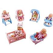 Wol Vol Set Of 6 Mini Dolls With Cradle, High Chair, Walker, Swing, Bathtub, Infant Seat