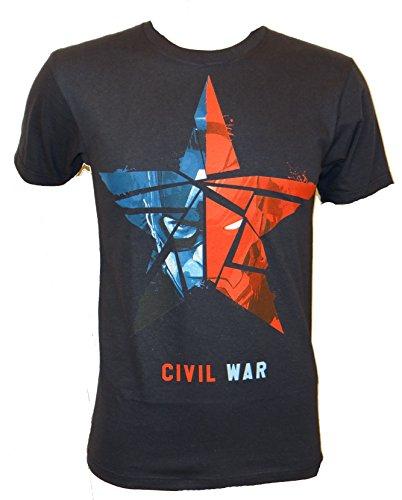 Captain America Civil War Red Blue Star T-shirt (Large,Navy)