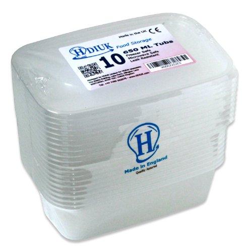10 x micro-ondes Grand 650ml / Congélateur Coffre boîtes à lunch en plastique / récipients alimentaires + Couvercles pour cuisiner les plats préparés ...