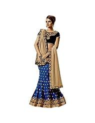 Royal Blue And Beige Georgette Designer Party Wear Lehenga Saree