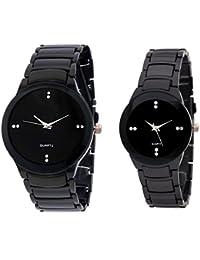 Akag Enterprise Round Analogue Couple Watch Couple Watch (A-IK-BLACK)