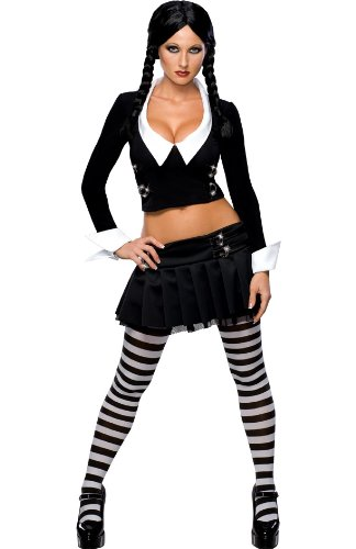 Great Group Halloween Costumes: The Addams Family - Addams Family Secret Wishes Wednesday Addams Costume, L (10/14)