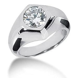 Men s Platinum Diamond Ring 1 Round Stone 2.50 ctw 120PLAT-MDR1140 - Size 8.5