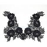 Venise Floral Neckline Lace Trims Applique Collar Dress Sewing Crafts Black