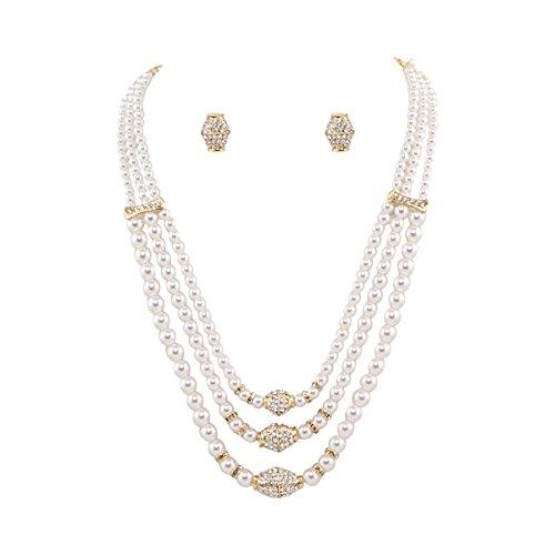 Neelam Gold & White Pearl Jewellery Set For Women