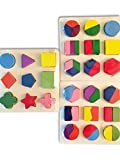 Wooden Puzzles Set Of 3. Best Geometric Puzzles For Kids, Learn Math & Shapes The Fun Way! Perfect Children puzzles, Super Durable, Lifetime Warranty