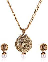 Shining Diva Traditional Jewellery Gold Plated Kundan Necklace Set / Pendant Set With Chain And Earrings For Women
