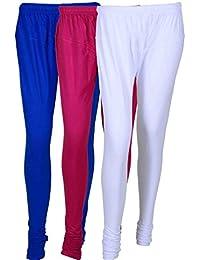 Cotton Leggings (Culture The Dignity Women's Cotton Leggings Combo Of 3_CTDCL_B1P1W_BLUE-PURPLE-WHITE_FREESIZE)