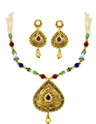 Multicolor Golden Pendant Set With Pearl Strings