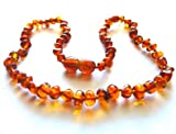 Cognac Polished Baltic Amber Teething Necklace for Babies (Unisex) - Anti Flammatory, Drooling & Teething Pain Reduce Properties - Certificated Natural Baltic Jewelry with the Highest Quality Guaranteed. Easy to Fastens with a Twist-in Screw Clasp Mothers Approved Remedies! Soothing Calming Acid Reflux Baby Toddler Fever Red Cheeks Round Baroque