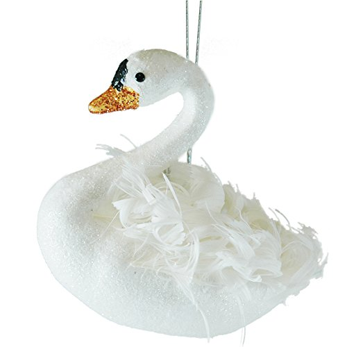 Swan Feathered & Glitter Christmas Tree Ornament