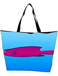 Snoogg A Vector Illustration Of A Pink And Purple Hooded Wrasse Fish On Blue Backg Waterproof Bag Made Of High...