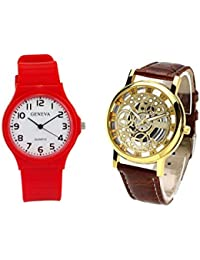 COSMIC COMBO WATCH- RED COLORFUL STRAP ANALOG WATCH FOR WOMEN AND BROWN ANALOG SKELETON WATCH FOR MEN