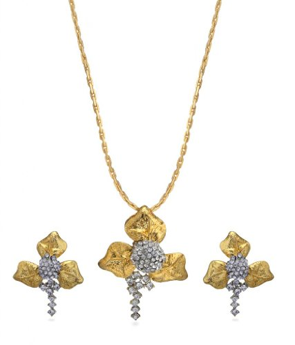 Eclat Rhodium Brass Alloy Pendant Set For Women(611018TT)