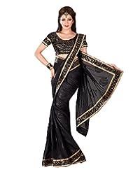 Black Georgette Weaved Saree In Gold & Black Shimmer Saree Border-SR6714