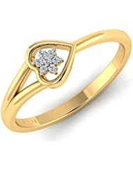 Novel Jewels 925 Sterling Silver Gold Plated Heart Shaped Ring For Women