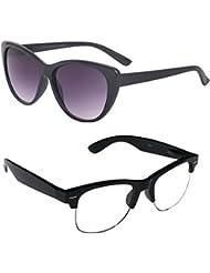New Stylish UV Protected Combo Pack Of Sunglasses For Women / Girl ( BlackCateye-ClearHFWayfarer ) ( CM-SUN-018 )