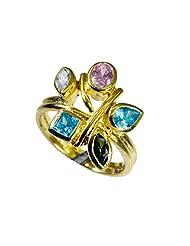 Riyo Multi-Colour Enthralling Multi Cz 18.Kt Gold Plating Finger Armor Ring Women 18 Gprmucz8.5-116033