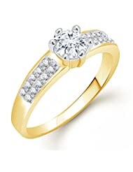 Meenaz Solitaire Ring Valentine Love Single Stone Ring For Girls & Women In American Diamond Cz Gold Ring FR467