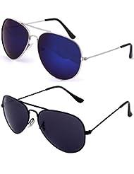 SHEOMY SUNGLASSES COMBO - SILVER BLUE MERCURY AVIATOR SUNGLASSES AND AVIATOR BLACK SUNGLASSES WITH 2 BOXES - Free...
