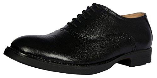 KingsToy Men's Black Leather Formal Brogue