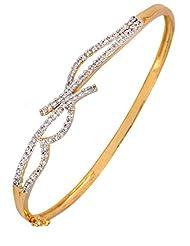 The Jewelbox American Diamond CZ Designer Eternity Openable Kada Bangle Bracelet