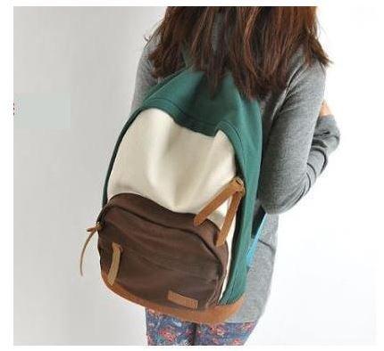 Nueva 2014 Casual lona colorido chica mujeres mochilas escolar Bolsas de Viaje Mochila estudiante con diseño de los (verde)