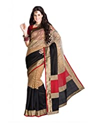 Beige & Black Tussar Silk Saree In Black & Red Pallu & Red Blouse -SR6283