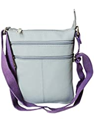 Style98 Light Grey Leather Women's Messenger Bag