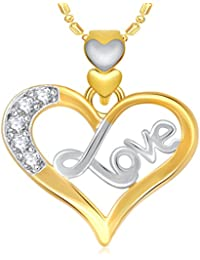 VK Jewels Love Heart Valentine Gold And Rhodium Plated Pendant Made With Cubic Zirconia - P1852G [VKP1852G]