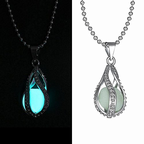 FM42 Silver-tone Glow in the Dark Openwork Teardrop Shaped Pendant Charm Necklace GN1005