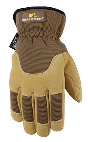 Wells Lamont Palm Leather Work Gloves, Insulated Deerskin