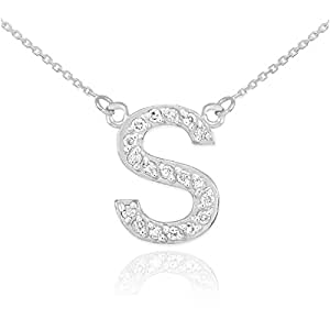 """Amazon Dainty 14k White Gold Diamond Initial Letter S Necklace 16"""" Jewelry"""