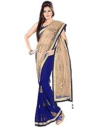 SareeShop Women's Georgette Saree(PriyankaButta_Blue_Blue_Free Size)