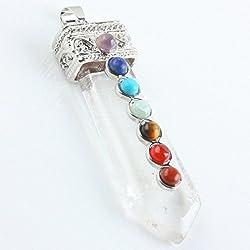 Aoneitem Rock Crystal Quartz Gemstone 7 Chakra Healing Stone Focal Beads Pendant Bead