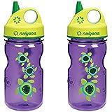 Nalgene Grip 'N Gulp Sea Turtles Bottle Purple With Green Cap 12 Ounce Water Bottle. 2 Bottle Pack