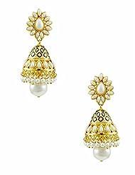 The Art Jewellery Rajwadi Ethnic Emerald Drop Earrings For Women