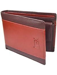 IMEX Men Formal Brown & Cherry Genuine Leather Wallet