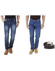UK Blue Men Jeans Combo Of Dark Blue And Light Blue Jeans With Black Belt