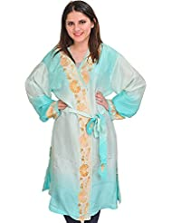 Exotic India Moonlight-Jade And Aqua Double Shaded Short-Robe From Kashm - Green