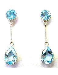 P D Diamonds Blue Topaz Dangling Earring Pair For Womens In Silver 925